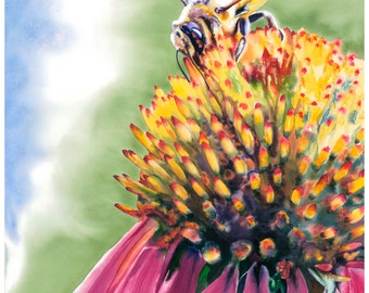 "8x10"" Honey Bee Flower Watercolor Giclee Fine Art Print [Watercolor Honey Bee Print, Bee Print, Bee Art, Flower Art, Watercolor Art]"