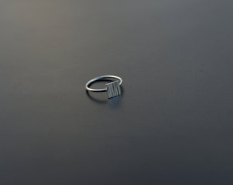 Sterling Silver Ring, Square Ring, Textured, Square, Modern, Contemporary, Minimal