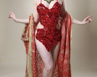 Embellished Red Sequin Showgirl Body