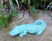 """Garden Gator Alligator Statue Small Cement Concrete Weathered Green Paint 9"""" Long Shabby Chic Garden Statue Dated"""