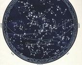 1934 Vintage Star maps 9 10 Southern June July August aquarius leo scorpio astronomy zodiac stars chart maps constellation