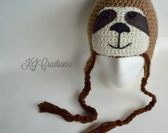 SALE-Sloth hat with ear flaps and ties all ages available.