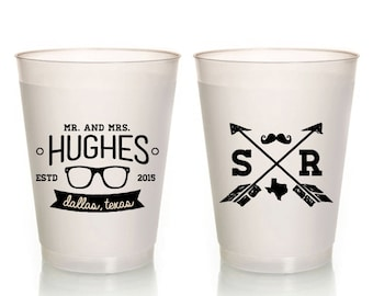 Hipster Wedding Cups Crossed Arrows Frosted Party Cup Favors