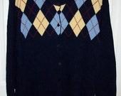 Vintage Ladies Navy Blue Argyle Print Cardigan Sweater LizSport by Liz Claiborne Extra Large Only 9 USD