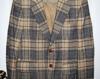 Vintage Men's Tan Plaid Wool Sport Coat Blazer by Oxford House Size 40 S Mod Only 14 USD