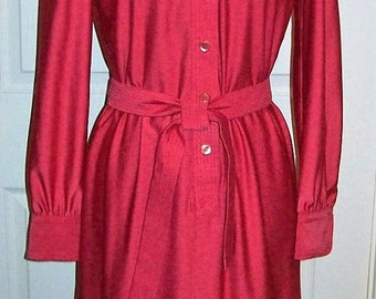 Vintage 1960s 70s Ladies Pink Red Shirt Dress by Schrader Sport Size 8 Only 14 USD