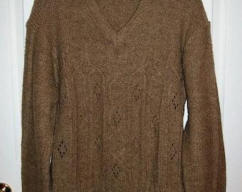 Vintage 1960s Men's Tan V Neck Sweater Christopher by Forum Large Only 11 USD