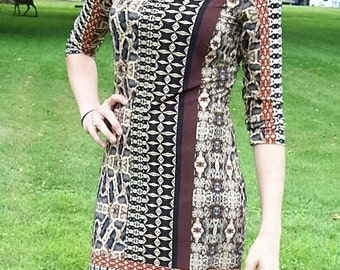 Vintage Ladies Brown Geometric Print Dress by Nine West Size 2 NOS Only 15 USD