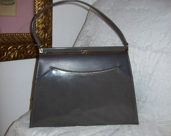 Vintage 1960s Ladies Gray Kelly Handbag Purse by Naturalizer Only 20 USD