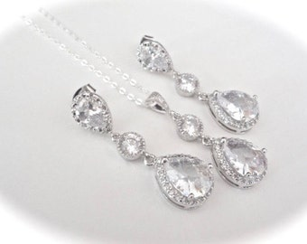 Brides jewelry set - Necklace and earring set, AAA+ Cubic Zirconias,Teardrops,Wedding jewelry set,Sterling necklace and posts-High end, LUX