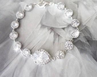 Cubic zirconia Bracelet, Brides bracelet, Tennis bracelet, AAA+, High quality, Wedding bracelet, Bridal jewelry, Anniversary gift, Extender
