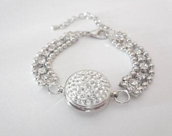 Chunky crystal snap on bracelet ~ Snap on, chunky, snap button, charm bracelet ~ Brides bracelet, statement bracelet ~ Snap jewelry~Gift