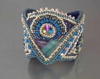 Free Shipping, Bead Embroidery,  Bracelet, Cuff, Statement jewelry,  Fluorite gemstone, Swarovski, Blue,  Silver,