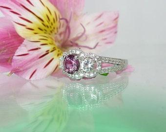 Pink Tourmaline Ring, Pink Tourmaline Sterling Ring, Natural Pink Tourmaline, Herkimer Diamond Accents, October Birthstone Ring, October