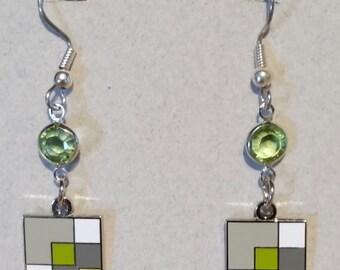 Quilter's Earrings Enameled Cloisonne MODERN QUILT BLOCK in soft greens with Swarovski Bling!