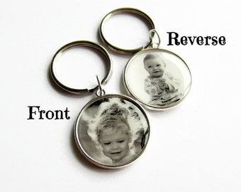 Double Sided Custom Photo Keyring, Personalised Keyring, Photo Key Chain, Keepsake Gift for Mum, Gift for Dad, Grandparent Gift, Stepmom