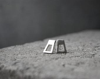 LYHTY Earrings Sterling Silver hand formed minimalist stud earrings