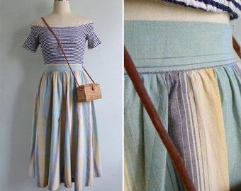 Vintage 80's Pastel Green Chevron Striped Cotton Skirt XS or S
