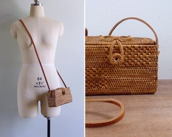 Vintage Woven Rattan Basket Box Bag with Leather Sling Strap