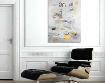 Giclee Print on Canvas of abstract painting Vertical Large art Light grey painting with white and yellow art by Duealberi