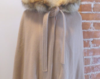 Vintage Forstmann Camel Hooded Cape