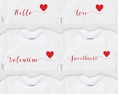 Valentine's Day Onesie with your choice of Personalized Name Calligraphy Wording & a Red Heart Onesies Brand Baby Valentine Onesie