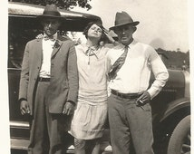 """Vintage Photo - """"Bonnie and Clyde and Buck Wannabees"""" - Flapper and Boyfriends - Found Vernacular Snapshot - Old Car - Flapper Dress"""