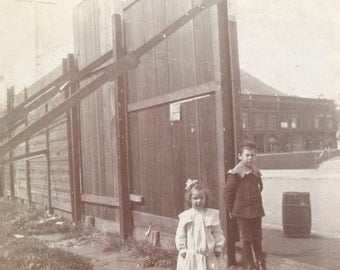 Don't Fence Me In - Vintage Photo - Children - School - Keg - Tall Fence - Vintage Snapshot - Paper Ephemera - Victorian Dress