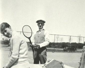 Tennis - Vintage Photo - 1928 - Tennis Racquet - Vintage Snapshot - Old Car - Original Found Photo - Collectibles - Paper Ephemera