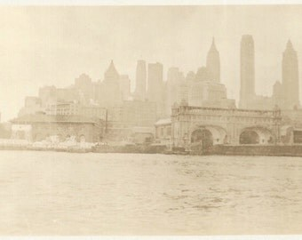 "Vintage Photo ""New York City Skyline"" Hudson River Empire State Building Chrysler Building NYC Found Vernacular"