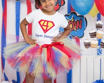 Supergirl Birthday Number Tutu Outfit-Supergirl Birthday Tutu Set-Superhero Birthday Tutu Set-Supergirl Birthday Outfit *Bow NOT Included*