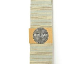 Blue grey and ivory/cream striped tie - Wedding Mens Tie Skinny Necktie - Laid-Back necktie