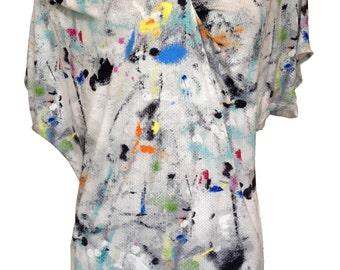 Asymmetric Plus Size Shirt, Graffiti Shirt, Women Shirt, Tunic Shirt, Oversize Shirt, White Shirt, Designers Shirt, Summer Shirt