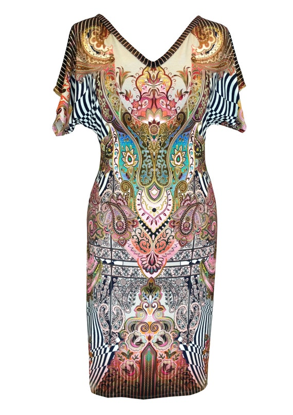 Cotton Jersey Dress, Plus Size Dress, Paisley Print, V Neck Dress, Summer Dress, Bat Sleeve Dress, Designers Dress, Natural Fabric