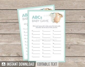 Abc Game - Baby Name Game - Mint Gold Baby Shower, bodysuit theme - Baby Shower Game - INSTANT DOWNLOAD - Printable PDF with Editable Text