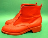 Vintage 90s Waterproof Womens Red Rain Snow Zipper Boots Size 8M Hipster retro