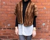 vintage Mink Stole honey beige genuine fur wrap cape 1960s Wedding wrap
