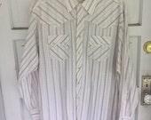 Men's White Blue Tan Striped Western Pearl Snap Shirt / Rockabilly - Large XL -Button Down Western Country Cowboy Shirt Rustler Wrangler