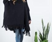 Plus Size winter coat Tunic, Black Loose Sweater Poncho turtleneck merino wool, Oversize woven cape coat women men, Fringe Kimono sweater