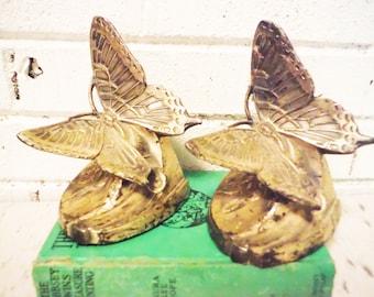 Butterfly bookends doorstops art nouveau  PMC Philadelphia metal shabby cottage vintage antique