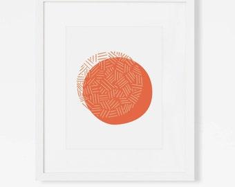 Coral Abstract Geometric Wall Art - Modern 5x7, 8x10, 11x14, Art Print - Simple Vertical Artwork