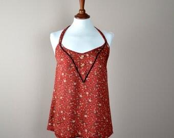 Burnt orange halter top, flower top, cotton top, tank top, womens clothes, summer fashion, flower halter top