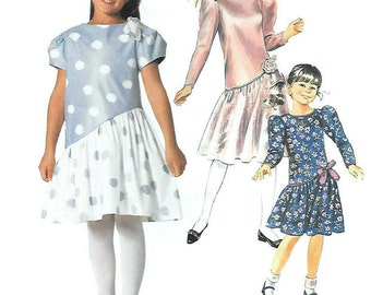 Girls Asymmetrical Dropped Waistline Dress Sewing Pattern, Gathered Contrast Skirt, Short or Long Sleeves, McCalls 2882 Cut on Size 7