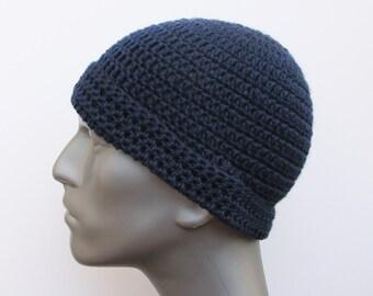Crochet Dark Blue Hat for Men, Women, and Teens