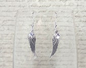 The Angelica- Swarovski Crystal and Sterling Silver Angel Wing Charm Dangle Earrings