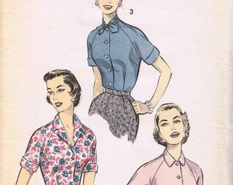 1950's Blouse Pattern, Advance 7833, Size 12 Bust 30
