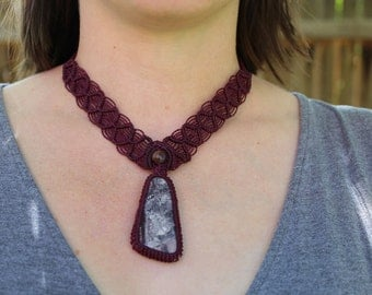Lacy Agate Stone Cabochon Micro Macrame Necklace/ Jewelry/ Centerpiece/ Purple