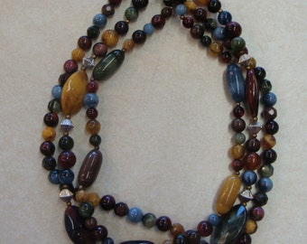 FUN 80's 90's BEADED NECKLACE multicolor fall colors