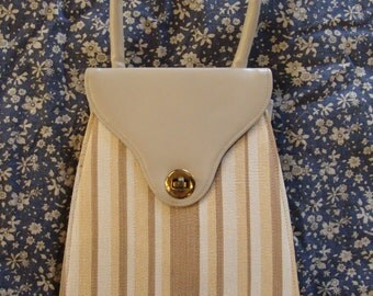 STRIPED MOD HANDBAG small top handle purse 1960's