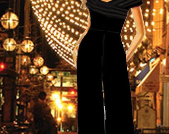 """Palazzo Jumpsuit Off The Shoulder  """"Made To Measurement"""""""
